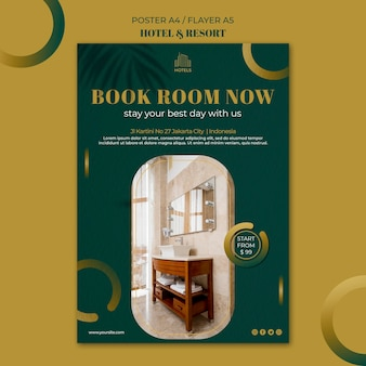 Hotel & resort concept poster template