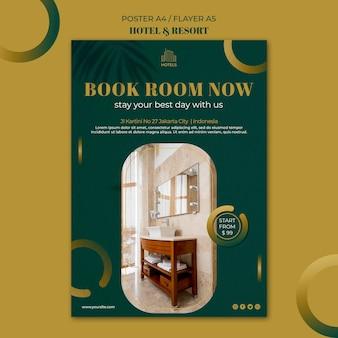 Modello di poster di concetto di hotel e resort