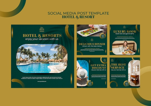 Modello di post social media di concetto di hotel e resort