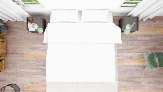 Camera d'albergo o camera da letto con letto matrimoniale e stile accogliente, vista dall'alto