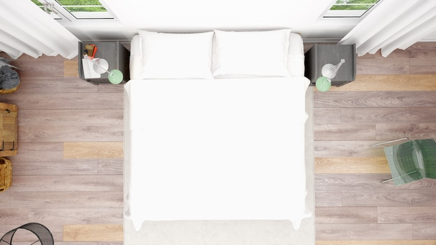 Hotel room or bedroom with double bed and cozy style, top view
