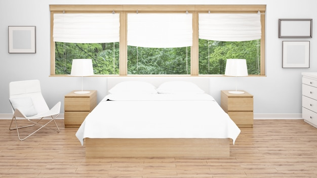 Hotel room or bedroom with double bed and large windows