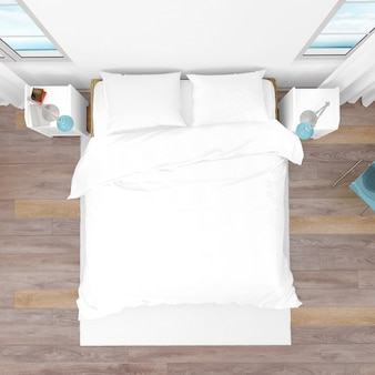 Hotel room or bedroom with double bed, top view