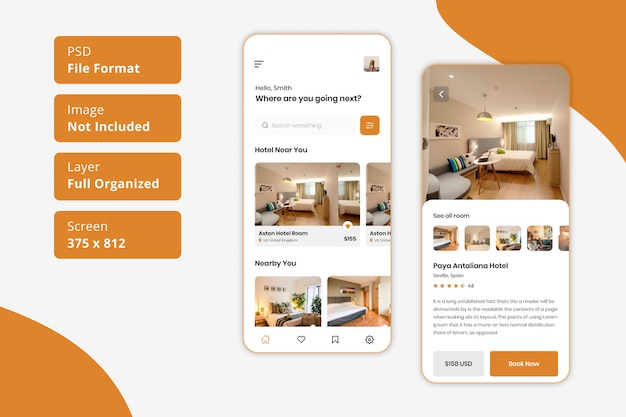 호텔 객실 예약 모바일 앱 ui