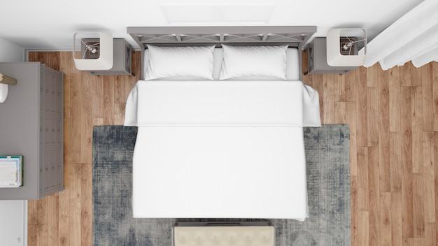 Гостиничный номер или спальня с классическим стилем и элегантной мебелью, вид сверху