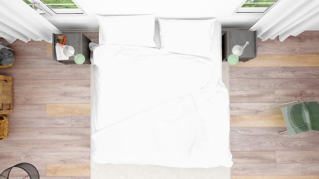 Гостиничный номер или спальня с двуспальной кроватью и уютным стилем, вид сверху