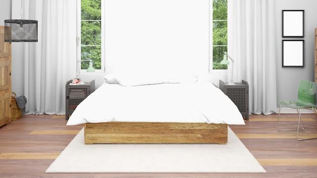 Гостиничный номер или спальня с двуспальной кроватью и уютным стилем