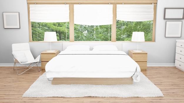 ホテルの部屋またはベッドルーム、ダブルベッド、窓からの庭の眺め
