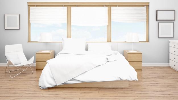 Гостиничный номер или спальня с двуспальной кроватью и большими окнами Бесплатные Psd