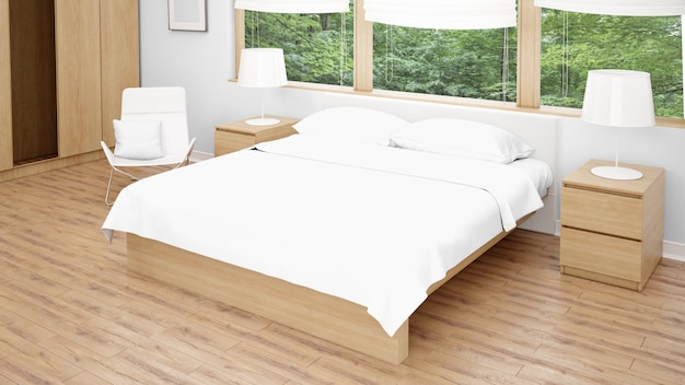 더블 침대와 대형 창문이있는 호텔 객실 또는 침실