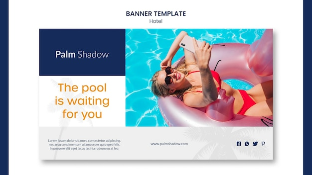 Hotel with swimming pool banner template