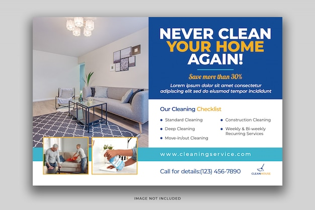 House cleaning services postcard flyer template with eco cleaning products psd premium psd