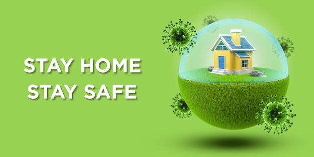 녹색 배너에 코로나 바이러스 또는 covid-19를 방지하는 장벽이있는 지구본의 집