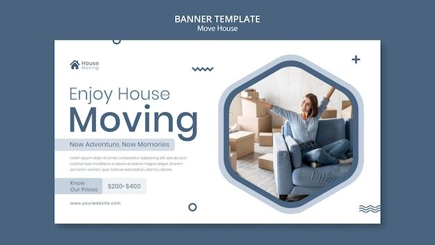 Modello di banner di servizio di trasloco di casa