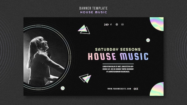 House music ad banner template