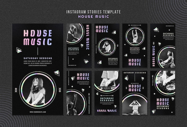 House music ad instagram stories template