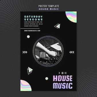 House music ad poster template
