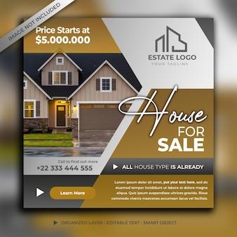 Modello di post sui social media di casa in vendita
