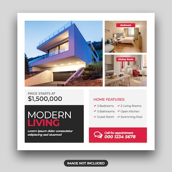 House for sale social square flyer template