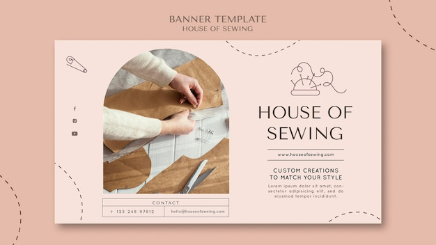 House of sewing banner template