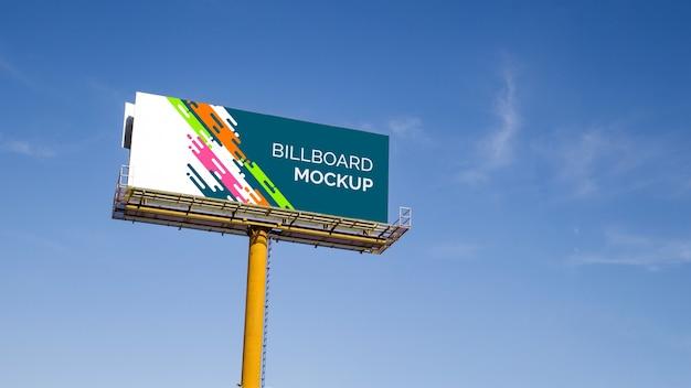 Huge billboard mockup on blue sky background