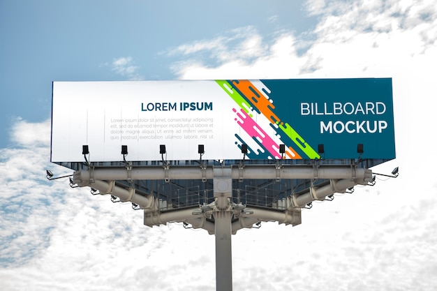 Huge billboard mockup on cloudy sky