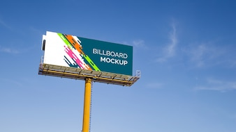Huge billboard mockup on blue sky background