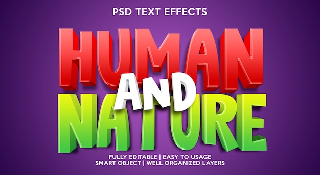 Human and nature text effect template