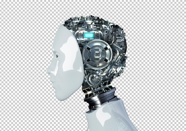 Голова робота-гуманоида с изолированным внутренним кибер-механическим искусственным мозгом