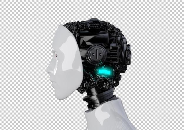 Голова робота-гуманоида с внутренней кибер-механической технологией искусственного мозга