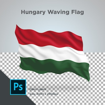 Hungary flag wave transparent psd