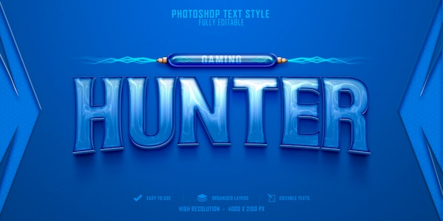 Hunter 3d text style effect template design