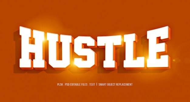 Hustle 3d text style effect