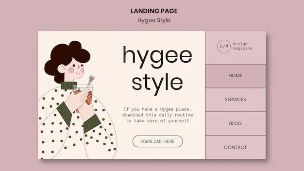 Hygge 스타일 방문 페이지 템플릿