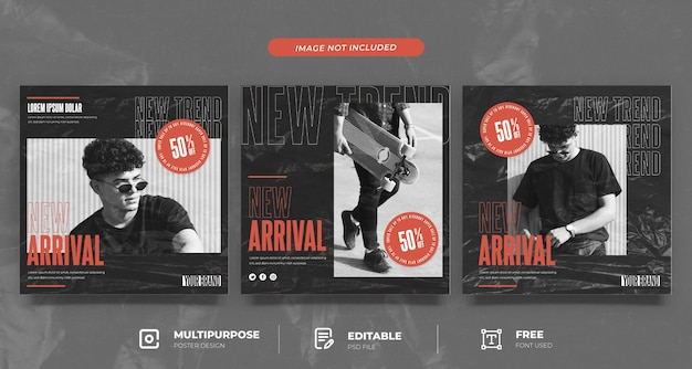 Hypebeast fashion social media template