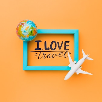 I love travel, motivational lettering quote for holidays traveling concept