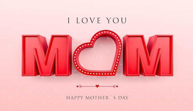 I love you mom banner with heart and red lights