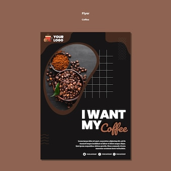 I want coffee flyer template Free Psd