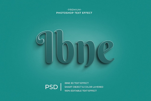 Ibne 3d text style effect template Premium Psd