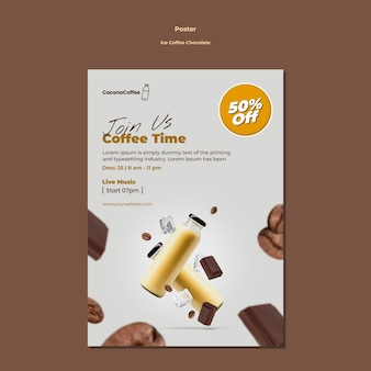 Ice coffee chocolate poster template