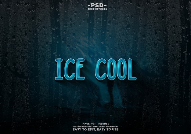 Ice cool text effect template premium psd