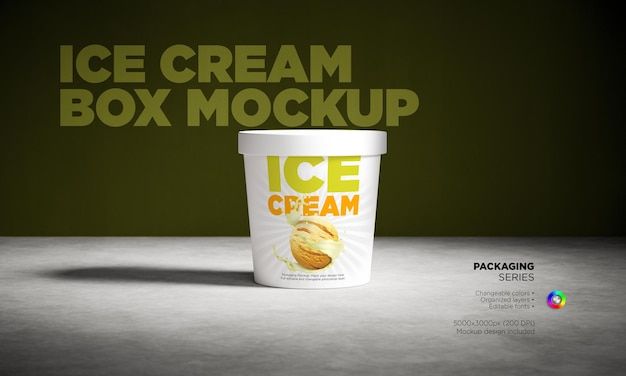 アイスクリームボックスのモックアップ