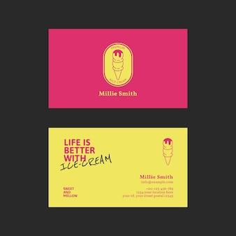 Шаблон визитной карточки мороженого psd в розовом и желтом