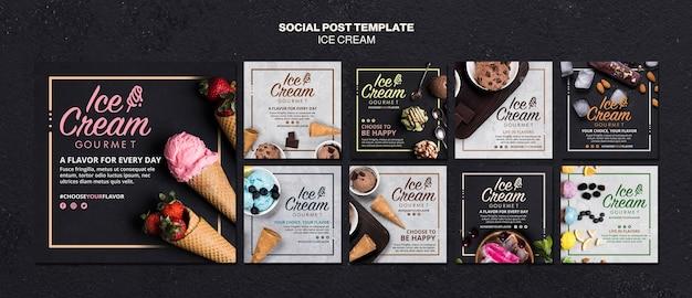 Шаблон сообщения в социальных сетях с концепцией мороженого