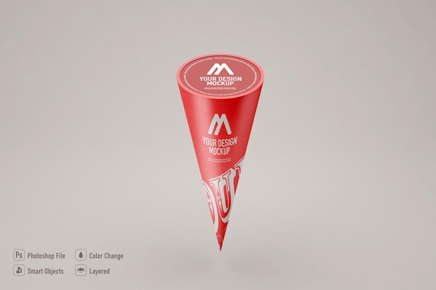 Ice cream cone mockup isolated on soft color background
