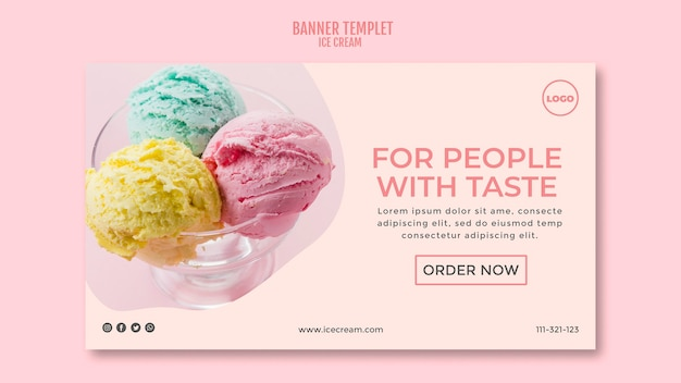 Ice cream cup banner template