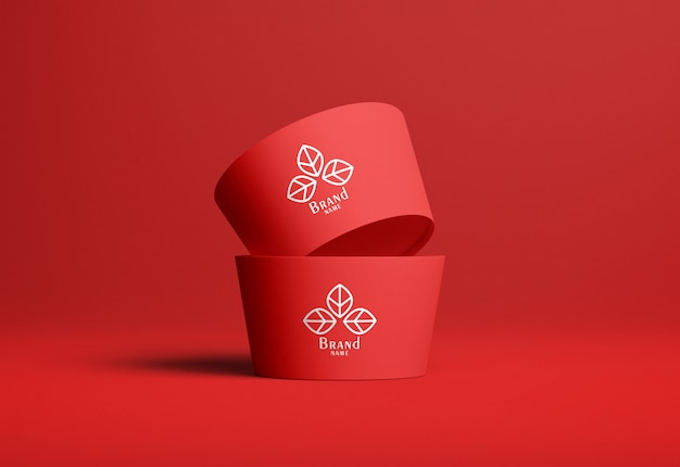 Ice cream cup mockup set of two