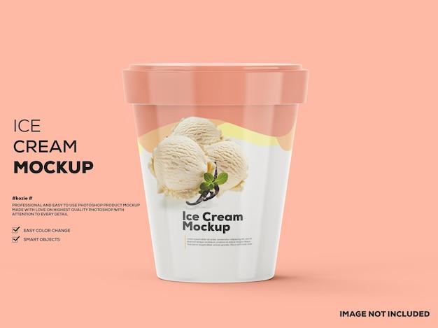 アイスクリームカップのモックアップ