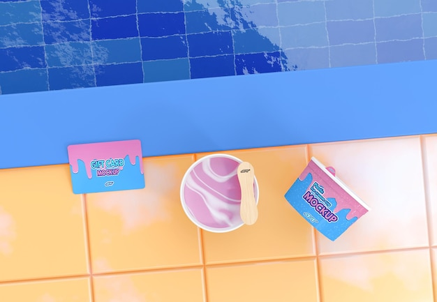 Ice cream cup with gift card mockup
