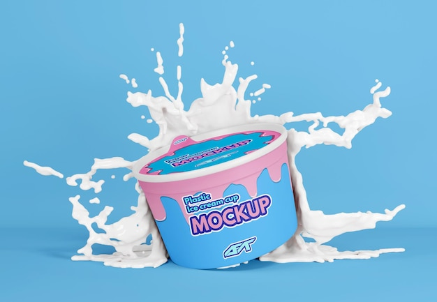 Ice cream cup with splash mockup